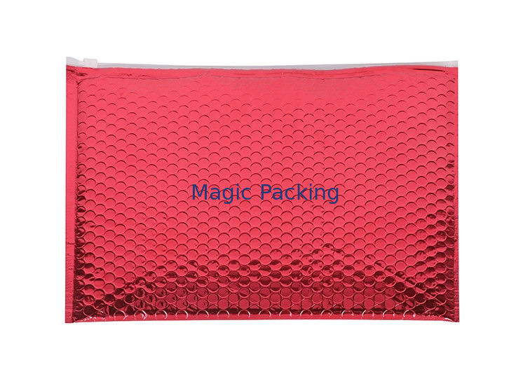 Red Shinny A3 Metallic Foil Padded Envelope Mailers Standard Pack Zipper Bubble Bag